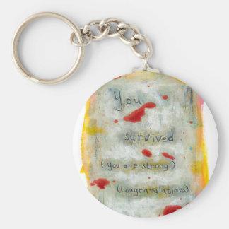 Survivor recovery healing hope art trauma illness basic round button key ring