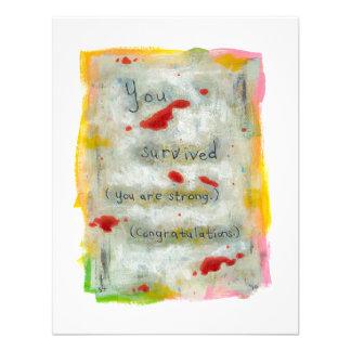Survivor recovery healing hope art trauma illness personalized invitations