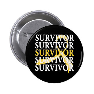 Survivor Whimsical Collage Childhood Cancer Pinback Button