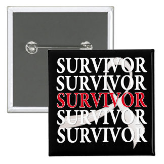 Survivor Whimsical Collage Lung Cancer Pinback Button