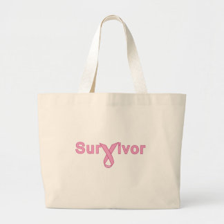 Survivor with Pink Ribbon Products Jumbo Tote Bag