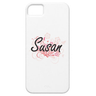 Susan Artistic Name Design with Flowers iPhone 5 Cases