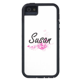 Susan Artistic Name Design with Flowers iPhone 5 Cover
