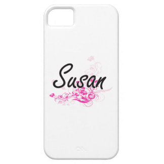 Susan Artistic Name Design with Flowers iPhone 5 Covers