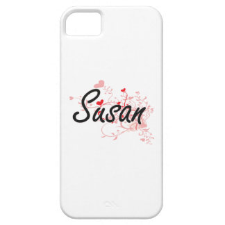 Susan Artistic Name Design with Hearts iPhone 5 Covers
