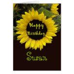 SUSAN Custom Name Happy Birthday Sunflower Cards