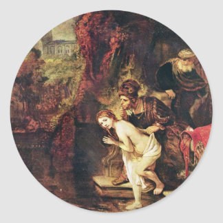 Susanna And The Elders By Rembrandt Harmensz. Van Round Stickers