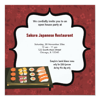 Sushi 13 Cm X 13 Cm Square Invitation Card