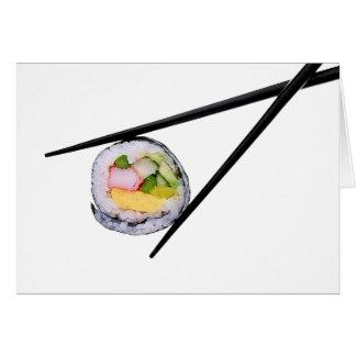 Sushi and Black Chopsticks Card