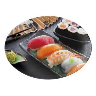 Sushi and rolls porcelain serving platter