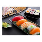 Sushi and rolls postcard
