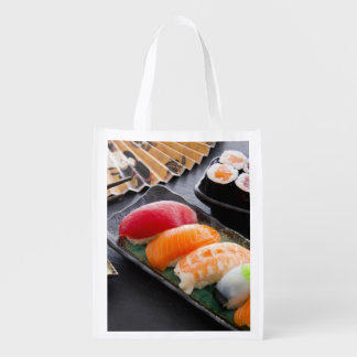 Sushi and rolls reusable grocery bag