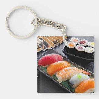 Sushi and rolls Single-Sided square acrylic key ring