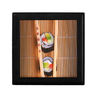 Sushi and wooden chopsticks gift box