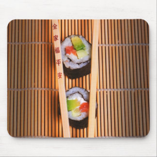 Sushi and wooden chopsticks mouse pad