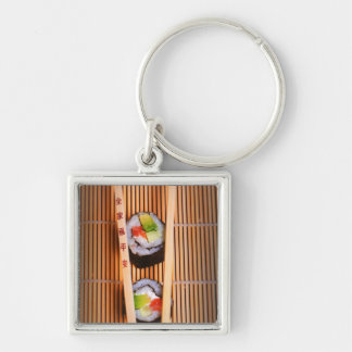 Sushi and wooden chopsticks Silver-Colored square key ring