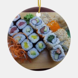 Sushi Asia Rice Fish Food Sea Round Ceramic Decoration