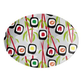 Sushi background porcelain serving platter