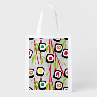 Sushi background reusable grocery bag