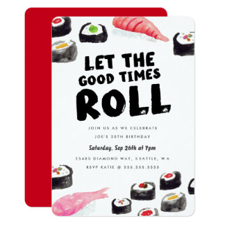 Sushi Birthday Party 13 Cm X 18 Cm Invitation Card