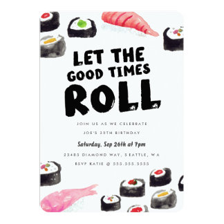 Sushi Birthday Party 13 Cm X 18 Cm Invitation Card
