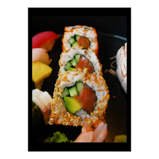 Sushi California roll sashimi foodie chef photo Poster