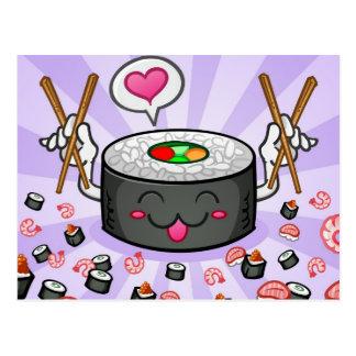 Sushi Cartoon Character Eating Lots of Shrimp Postcard