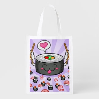 Sushi Cartoon Character Eating Lots of Shrimp Reusable Grocery Bag