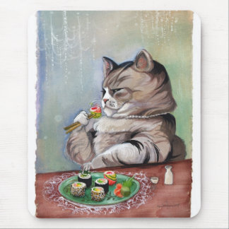 Sushi Cat Fancy Feast Mouse Pad