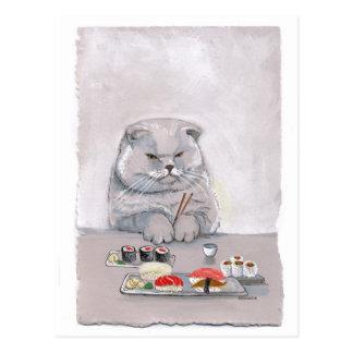 Sushi Cat Mr. Grumps ©CSiravo Postcard