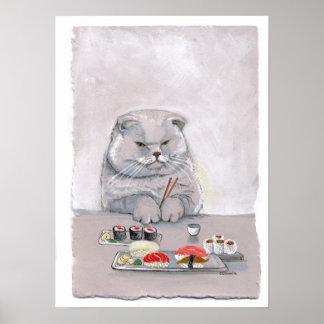 Sushi Cat Print - Mr. Grumps