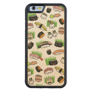 Sushi Characters Pattern Carved Maple iPhone 6 Bumper Case