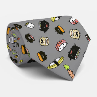 Sushi Characters Pattern Tie