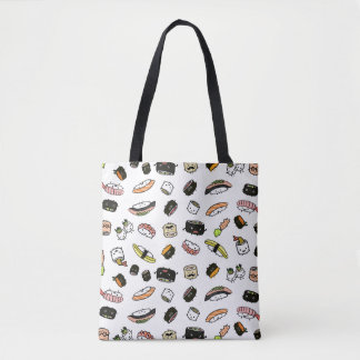 Sushi Characters Pattern Tote Bag