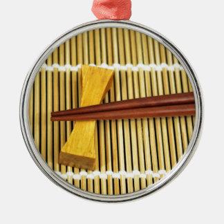Sushi Chopsticks Sensei Masters Wood Bamboo Silver-Colored Round Decoration
