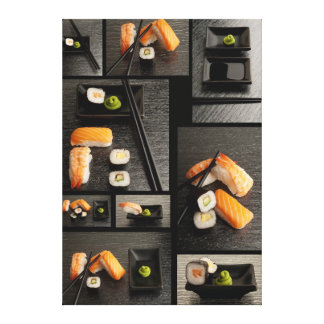 Sushi collection on black background canvas print