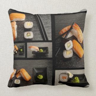 Sushi collection on black background cushion