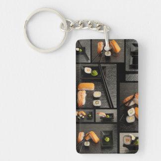 Sushi collection on black background Double-Sided rectangular acrylic key ring