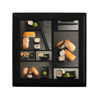 Sushi collection on black background gift box