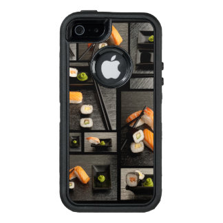 Sushi collection on black background OtterBox defender iPhone case