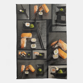 Sushi collection on black background tea towel