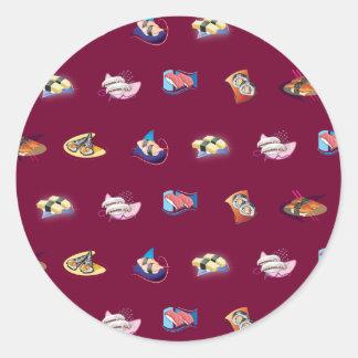 sushi dark red round sticker