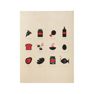 SUSHI Food exclusive set / Black red Wood Poster