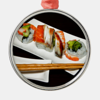 Sushi Food Restaurant Eat Exotic Meals Fast Food Silver-Colored Round Decoration