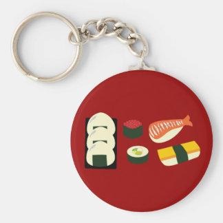Sushi Fun Basic Round Button Key Ring