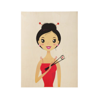 Sushi Girl on wood : cute Poster art edition