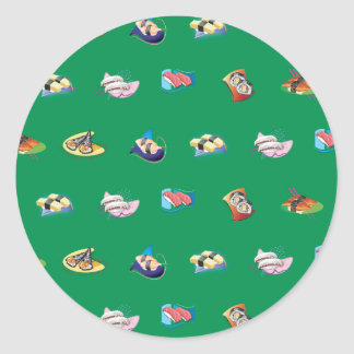 sushi green stickers
