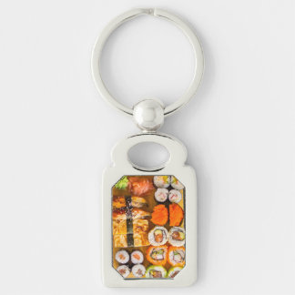 Sushi key chain Silver-Colored rectangle key ring