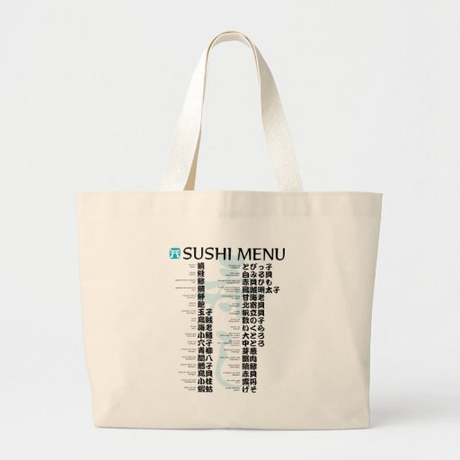 Sushi menu-Jpanese Jumbo Tote Bag