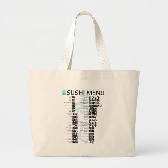Sushi menu-Jpanese Large Tote Bag